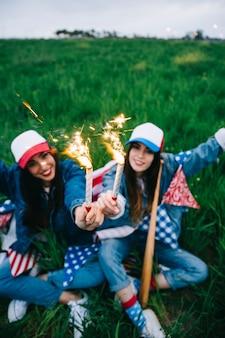 Female friends having fun outdoors