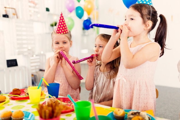 Female friends having fun on party