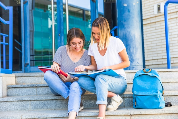 Female friends studying on university steps