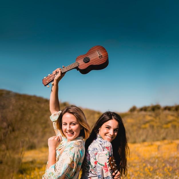 Female friends with ukulele