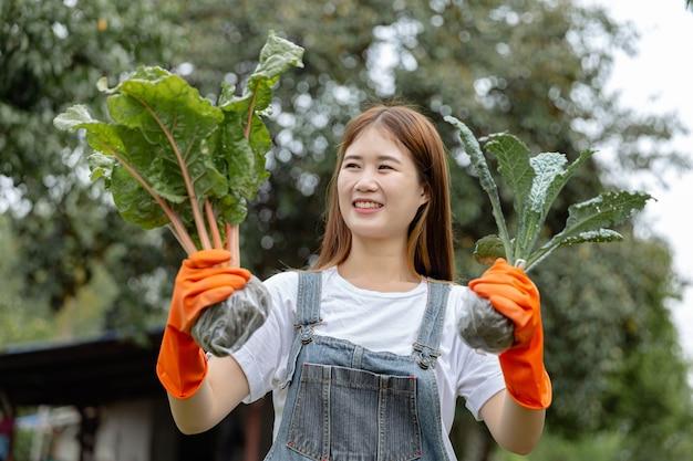 여성 정원사 개념 주황색 장갑을 끼고 야채 줄기를 따고 행복하게 바라보는 젊은 여성 정원사.