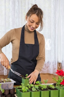 Female gardener growing plants in home garden, young beautiful woman replanting microgreens vegetables herbs seedling into pots, food growing, organic products, sustainable zero-cost gardening