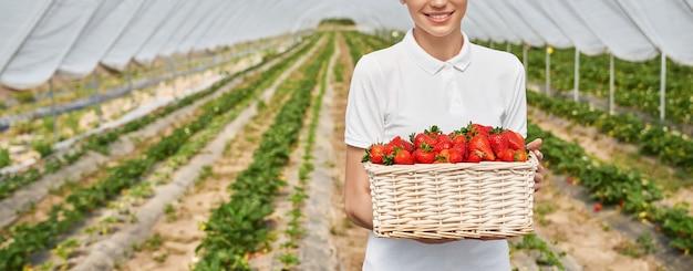 Женщина-садовник держит корзину со спелой клубникой