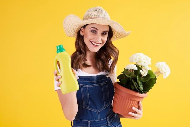 Female gardener holding fertilizer and flower pot with white pelargonium