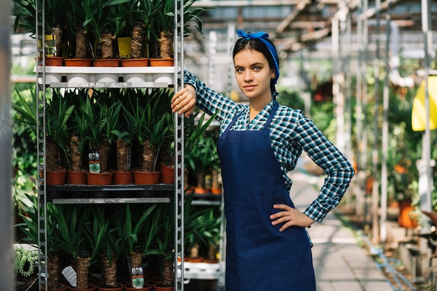 Female gardener standing near rack of potted plants in greenhouse