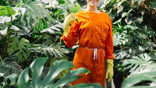 Женский садовник с секаторами, стоящими в теплице