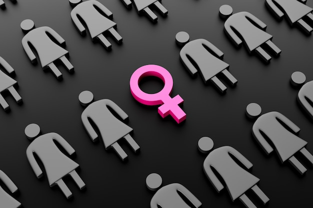 Female gender symbol surrounded by female figures on dark background