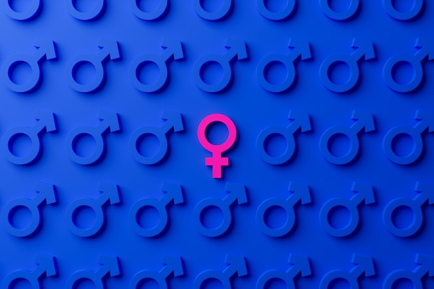 Female gender symbol surrounded by male gender symbols on a blue background.