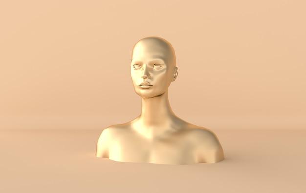 Женский золотой манекен головы рендера