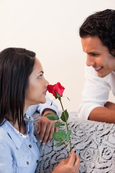 Female got a rose from her boyfriend for valentines day