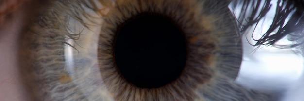 Female greengray eye for medical examination closeup