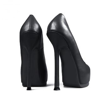 Female grey shoes on white