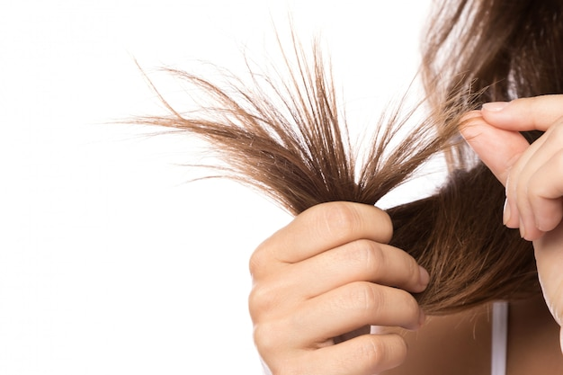 Female hair with split ends