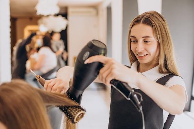 Female hairdresser in a beauty salon