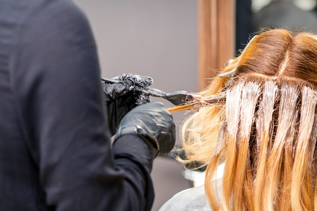 Female hairdresser dyeing hair of young caucasian woman in hair salon