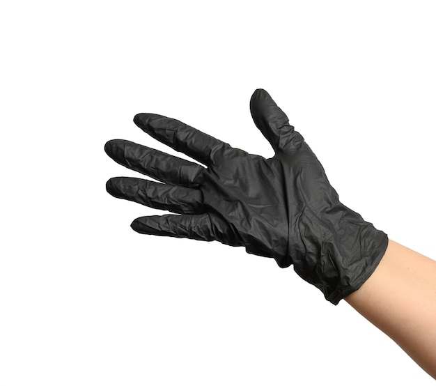 Female hand in a black latex glove on a white background, palm open