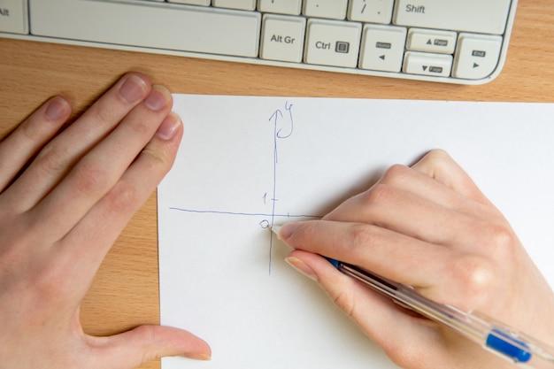 Female hand draws an axis for plotting, math homework, close-up. home teaching concept
