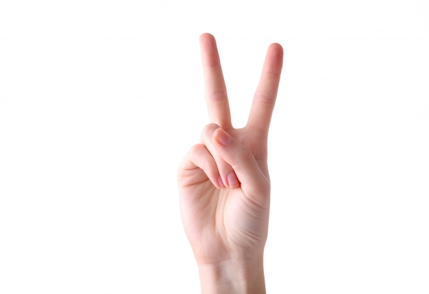 Female hand gesture isolated on a white background
