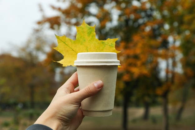 Female hand hold paper cup on autumn park