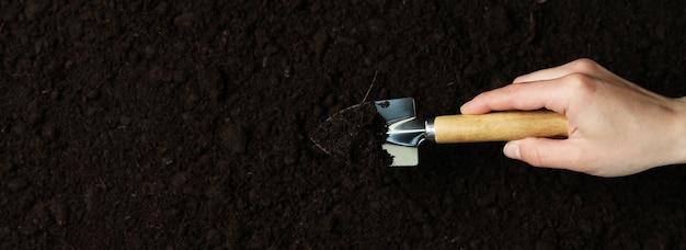 여성의 손을 잡고 토양 배경에 원예 삽