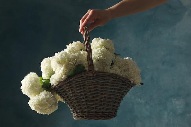 Женская рука держит плетеную корзину с цветами гортензии