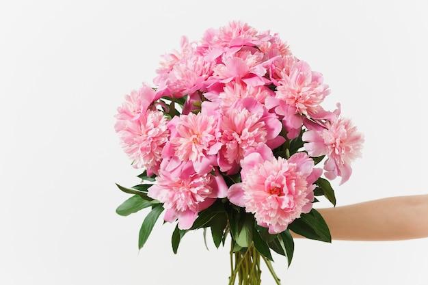 Женская рука, держащая красивый букет цветов розовых пионов, изолированные на белом фоне. день святого валентина, концепция праздника международный женский день. рекламная площадка копирует пространство для рекламы