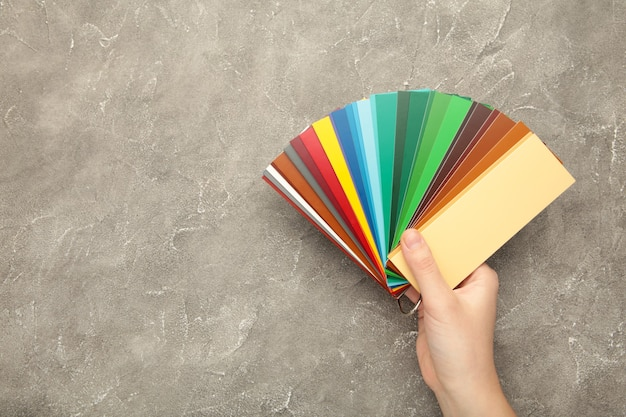 Женская рука держит цветовую палитру