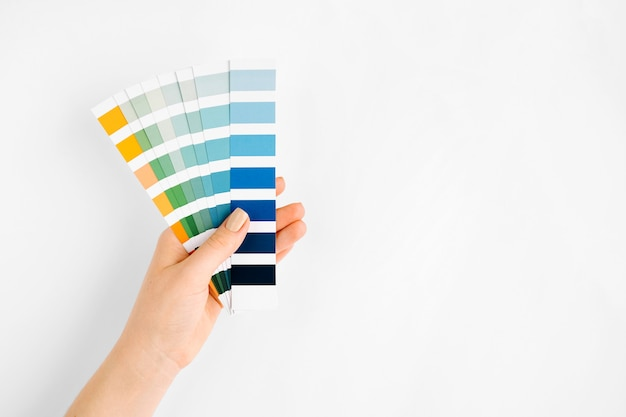 Female hand holding color swatches. color of the year 2020. classic blue.