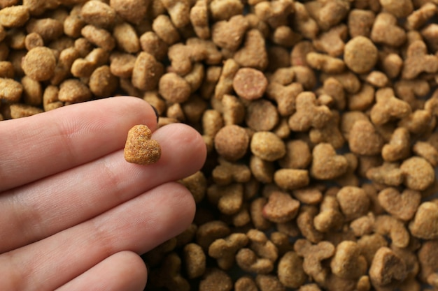 Female hand holding dry food for animals, closeup