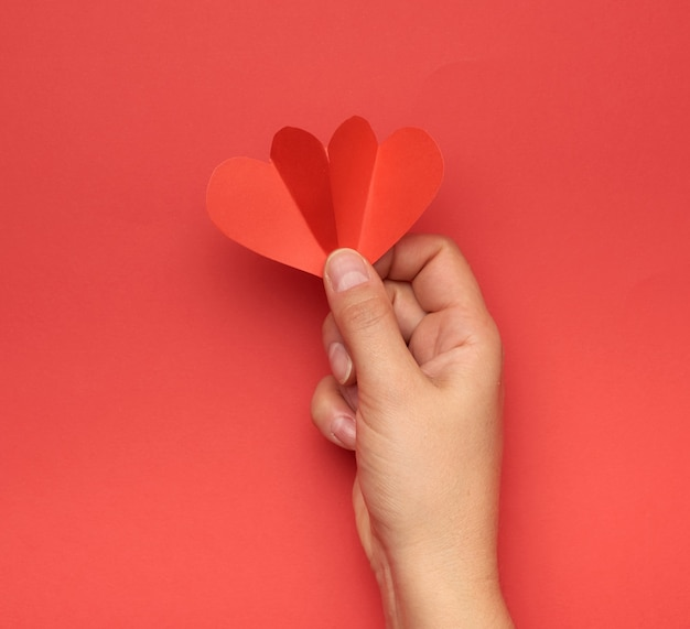 Female hand holding red paper hearts