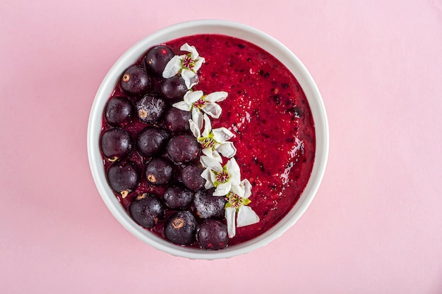 Acai 바나나 블루 베리 키위 과일과 검은 건포도와 스무디 그릇을 들고 여성 손 신선한 과일과 건강한 슈퍼 푸드