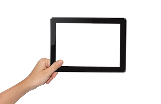 Female hand holding tablet pc isolated