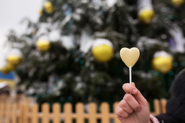 飾られたクリスマスツリーの背景においしいチョコレート菓子を持っている女性の手