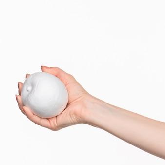 白い空白の発泡スチロールの楕円形を持っている女性の手