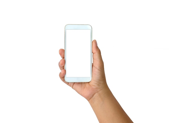 クリッピングパスと白い孤立した背景に白い携帯電話と白い画面を持っている女性の手。