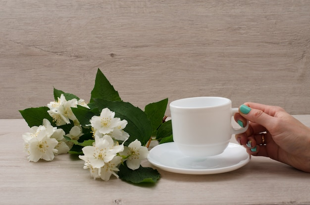 Female hand holding a white mug, a sprig of jasmine on the table