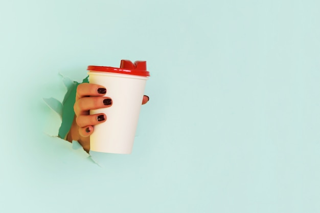 Female hand holding white paper mug on blue background.