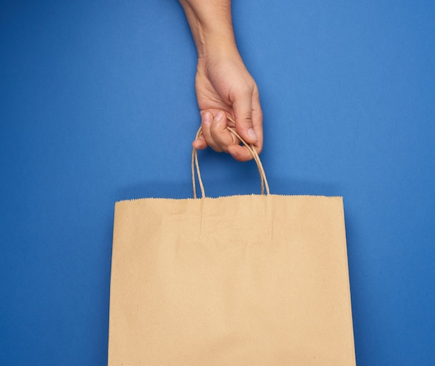 여성 손 핸들에 의해 빈 갈색 종이 봉지를 보유