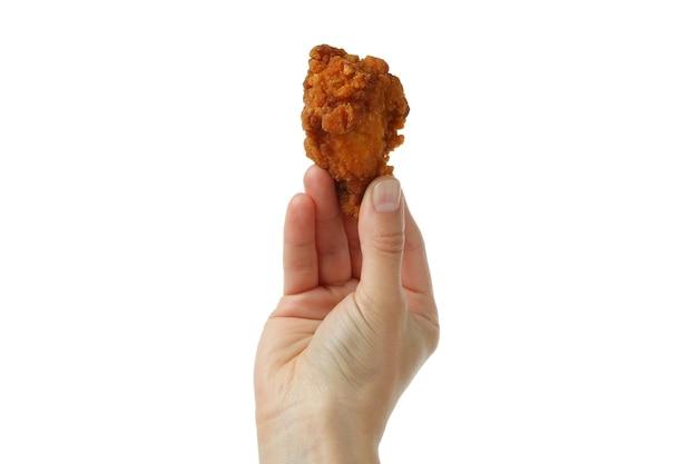 여성 손 보유 프라이드 치킨, 흰색 배경에 고립