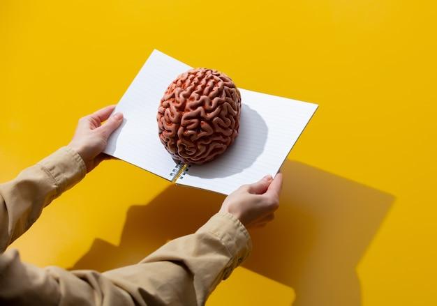 Женская рука держит ноутбук с мозгом на желтой поверхности