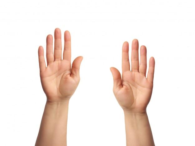 여성의 손은 열린 손바닥으로 제기, 신체의 일부가 격리됩니다