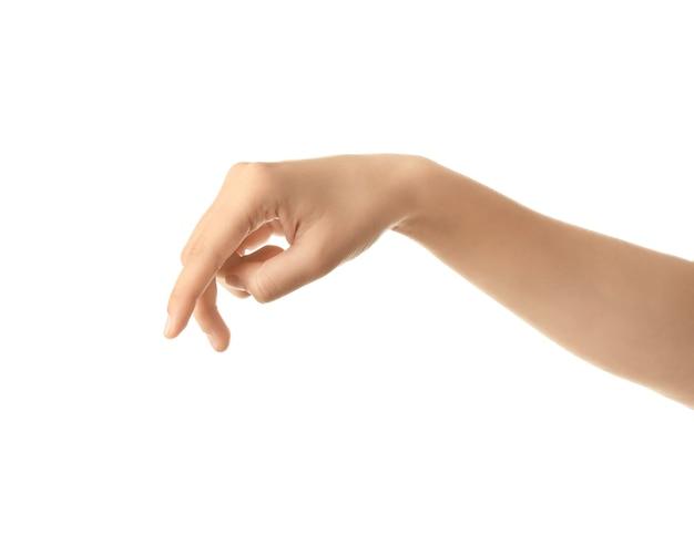 Женская рука на белом фоне