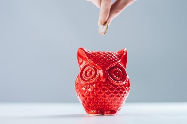 女性の手がフクロウの形をした貯金箱にコインを入れます