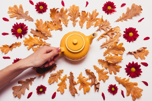 Female hand puts yellow teapot on the table with dry leaves and red flowers