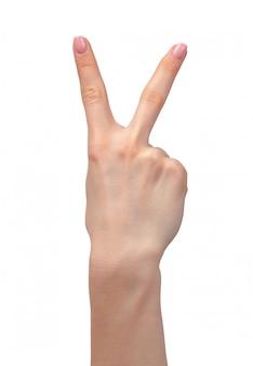 Женская рука показывает два пальца на белом