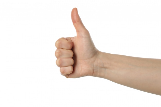 Female hand thumb up, isolated on white surface