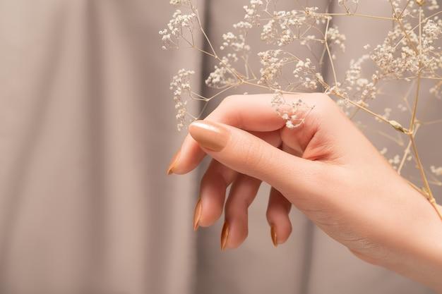 반짝이 베이지색 네일 디자인이 있는 여성 손. 여성의 손은 마른 가을 꽃을 잡고 있습니다. 베이지색 패브릭 배경에 여자 손입니다.