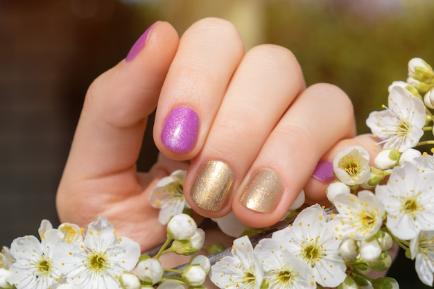 Female hand with gold and purple nail design holding blossom cherry branch.
