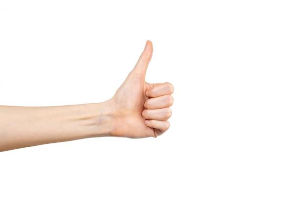 엄지 손가락에 고립 된 흰색 배경으로 여성 손