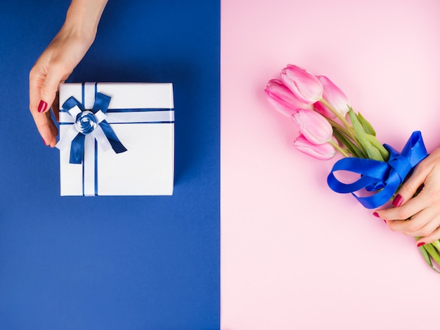 Female hand with tulips on pink and blue and gift